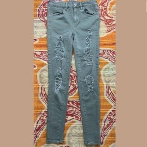 American Eagle Distressed High-Rise Jeans Olive 4